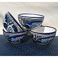 Set of 4 Aqua Fish Soup/ Cereal Bowls (Tunisia)