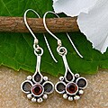 Sterling Silver Garnet Dangle Earrings (Indonesia)