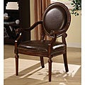 Roll Arm Bi-cast Leather Nailhead Accent Chair
