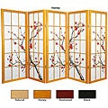 Spruce Wood Cherry Blossom Shoji 5-panel Room Divider (China)