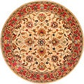 Hand-tufted Coliseum Beige/Red Traditional Border Wool Rug (4' Round)
