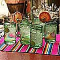 Set of 6 Highball &#39;Emerald Green&#39; Glasses (Mexico)