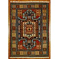 Indo Kazak Red/ Ivory Wool/ Cotton Rug (4&#39;8 x 6&#39;5)