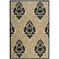 Indoor/ Outdoor St. Barts Sand/ Black Rug (4' x 5'7)