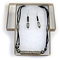 Silver Onyx Necklace/ Earrings Set (Thailand)