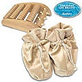 Soothera Therapeutic Wooden Foot Massager/ White Swan Slippers