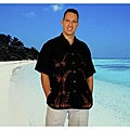 Men's Black Rayon Hawaiian Aloha Shirt (Indonesia)