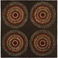 Safavieh Handmade Deco Explosions Brown/ Multi N. Z. Wool Rug (8' Square)