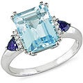 10k White Gold Blue Topaz and Sapphire Ring