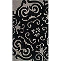 Hand-tufted Floral Black/ Grey Wool Rug (5' x 8')