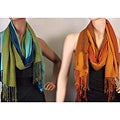 Viscose Faux Pashmina Ombre Stripe 2-piece Scarf/ Shawl Set