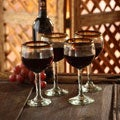 Amber Globe Clear with Brown Rim Set of Six Barware Tableware Perfect Hostess Gift Stemmed Handblown Round Wine Glasses (Mexico)