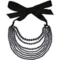 Sterling Silver Freshwater Pearl Ribbon Necklace (10-11 mm)