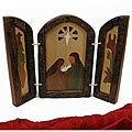 Wood Inlaid Triptych Nativity Scene (Argentina)