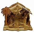 Hand-carved Olive Wood Nativity with Music Box (Bethlehem)