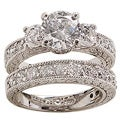 NEXTE Jewelry White Rhodium Overlay Cubic Zirconia Bridal-inspired Ring Set