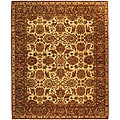 Heirloom Hand-knotted Hand-spun Wool Ivory/ Rust Rug (8' x 10')