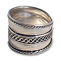 Sterling Silver 'Double Decks' Band Ring (Indonesia)