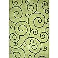 Hand-tufted Sarah Scrolls Lime Green Wool Rug (5&#39; x 8&#39;)
