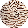 nuLOOM Handmade Zebra Brown Wool/ Faux Silk Highlights Rug (6' Round)