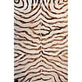 Handmade Alexa Zebra Brown Wool/ Faux Silk Highlights Rug (8'6 x 11'6)