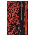 Handmade Soho Deco Black/ Red New Zealand Wool Rug (9'6 x 13'6)