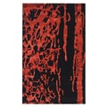 Handmade Soho Deco Black/ Red New Zealand Wool Rug (5' x 8')