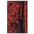 Handmade Soho Deco Black/ Red New Zealand Wool Rug (6' x 9')