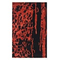 Handmade Soho Deco Black/ Red New Zealand Wool Rug (7'6 x 9'6)