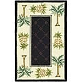 Hand-hooked Palm Black/ Ivory Wool Runner (2' 6 x 4')