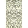 Hand-hooked Damask Beige-Yellow/ Grey Wool Rug (2'9 x 4'9)