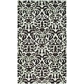 Hand-hooked Damask Sage/ Chocolate Wool Runner (2'6 x 4')