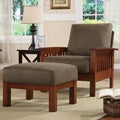 ETHAN HOME Hills Mission-style Oak/ Olive Chair and Ottoman