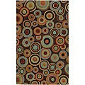 Hand-tufted Contemporary Multi Colored Circles Geometric Current New Zealand Wool Rug (5 x 8)