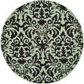 Hand-hooked Damask Sage/ Chocolate Wool Rug (5&#39;6 Round)