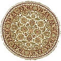 Oushak Hand-knotted Treasures Ivory/ Rust Wool Rug (4&#39; Round)