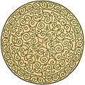Hand-hooked Iron Gate Yellow/ Light Green Wool Rug (5'6 Round)