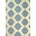 Hand-hooked Miff Ivory/ Blue Wool Rug (6&#39; x 9&#39;)