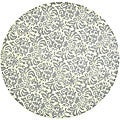 Hand-hooked Damask Beige-Yellow/ Grey Wool Rug (5'6 Round)