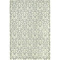 Hand-hooked Damask Beige-Yellow/ Grey Wool Rug (6' x 9')