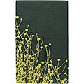 "Hand-Tufted Green New Zealand Wool Mandara Floral Rug (5' x 7'6"")"