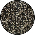 Cafe Black Floral Indoor/Outdoor Rug (5'3 Round)