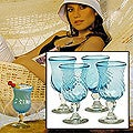 Set of 4 &#39;Caribbean Sea&#39; Cocktail Glasses (Mexico)