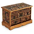 Wood and Leather 'Antique Ivy' Jewelry Box (Peru)