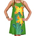 Hand-painted Orchid Green Sundress (Indonesia)