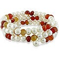 Freshwater Pearl and Citrine Bead Wire Coil Bracelet (7-8 mm)