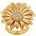 Meredith Leigh Goldtone Sterling Silver Cubic Zirconia Sunflower Ring
