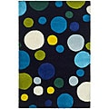 Handmade Soho Bubblegum Black/ Multi N. Z. Wool Rug (2' x 3')