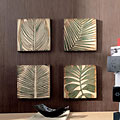 Wood Palm Leaf Square Wall Art (Set of 4)