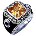Simon Frank 14k White Gold Overlay Men&#39;s Cubic Zirconia and Enamel Ring